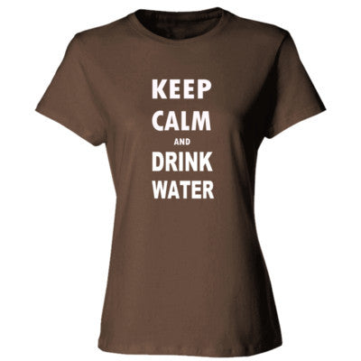 Keep Calm And Drink Water - Ladies' Cotton T-Shirt S-Dark Chocolate- Cool Jerseys - 1
