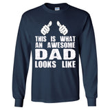 This is What An Awesome Dad Looks Like - Long Sleeve T-Shirt S-Navy- Cool Jerseys - 4