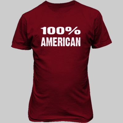 100% American tshirt - Unisex T-Shirt FRONT Print S-Cardinal Red- Cool Jerseys - 1