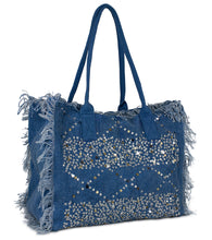 Load image into Gallery viewer, Sequin and Frayed Edge Beach Tote - Just Jamie