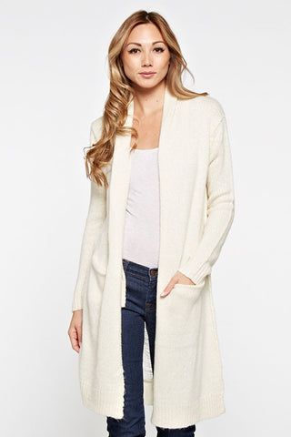 2 Pocket Sweater Duster W/Distressed Back Detail