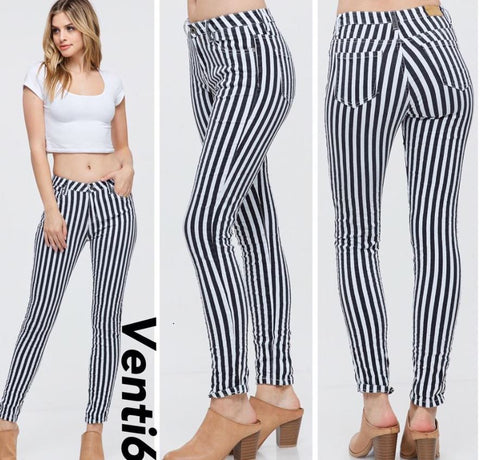 5 Pocket Blue and White Stripe Crinkle Pant