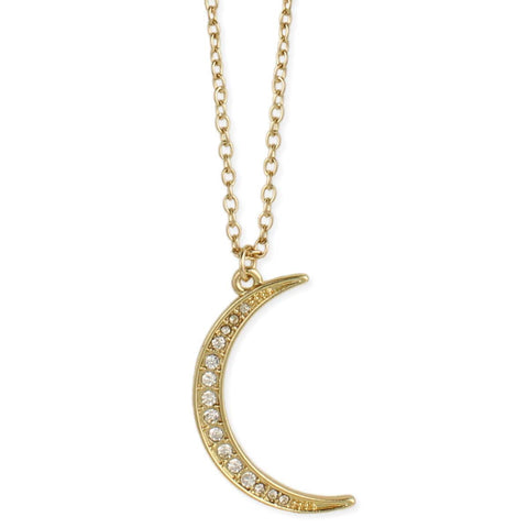Midnight Moon Crystal Crescent Moon Gold Necklace