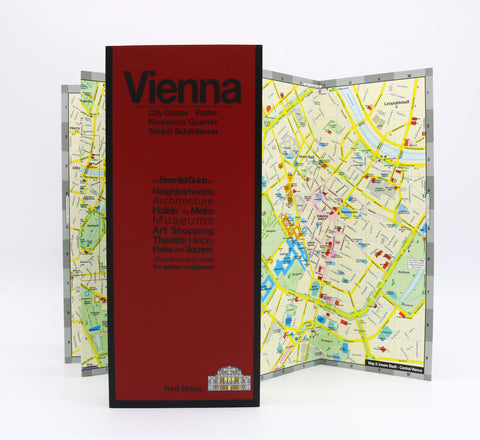 Foldout map of Vienna that shows the opera houses and musical theatres.