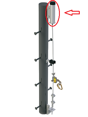 highlighted area for dbi safety climb top bracket on pole