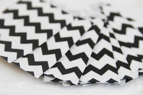 Black Chevron Little Bitty Party Favor Candy Treat Paper Bags 2.75 x 4 inches