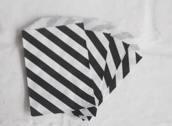 Black Diagonal Stripe Little Bitty Party Favor Candy Treat Paper Bags 2.75 x 4 inches