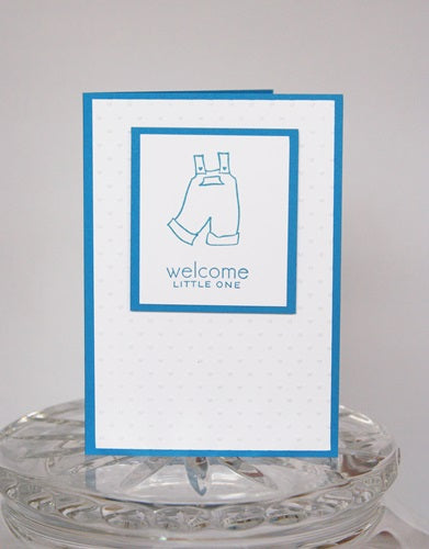 Blue Overalls Welcome New Baby Greeting Card, Congratulations Baby