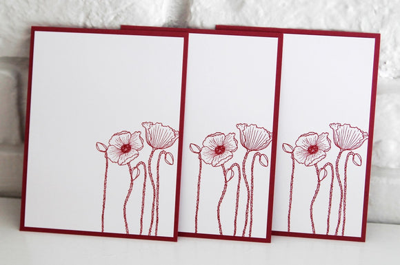 All Occasion Pink Flower Note Card Set, Floral Stationery Set