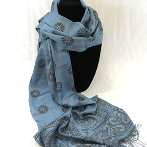 Hand-Woven Block-Printed Silk Scarf