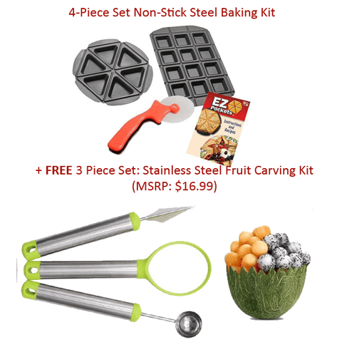 """4 PC. Set: Non-Stick Baking Kit"" + FREE Fruit Carving Kit"