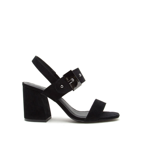 Cannoli-07 Black Double Band Slingback Sandals
