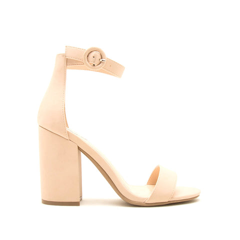 Lake-01 Nude One Band Ankle Strap Sandal