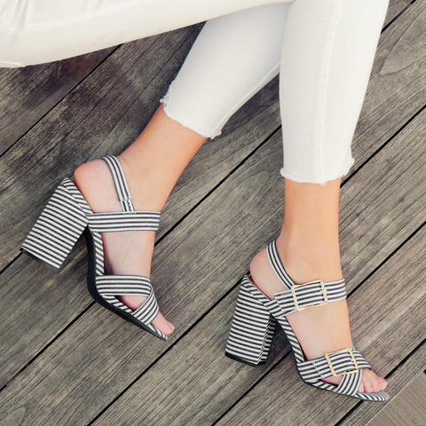 Lake-14 Black White X Band Ankle Strap Sandals