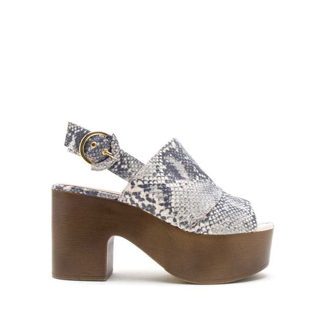 Lodge-03 White Grey Snake Peep Toe Mule Slingback Sandals