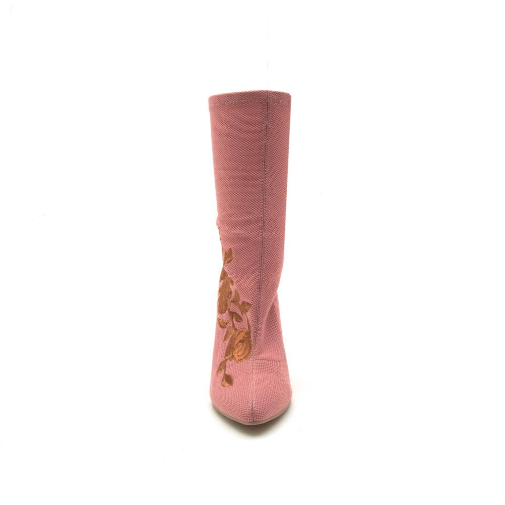 Parma-08 Ash Rose Embroidered Sock Bootie