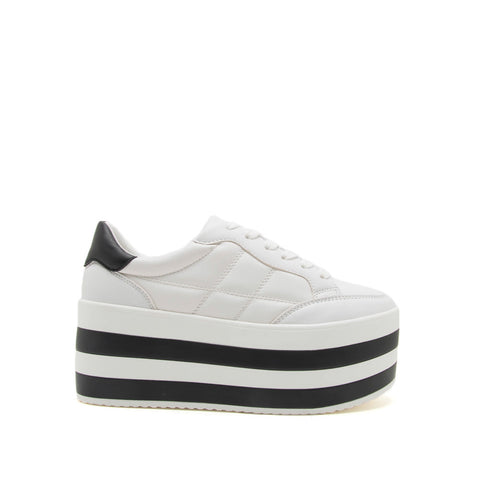 Poki-02A White Quilted Wedge Sneakers