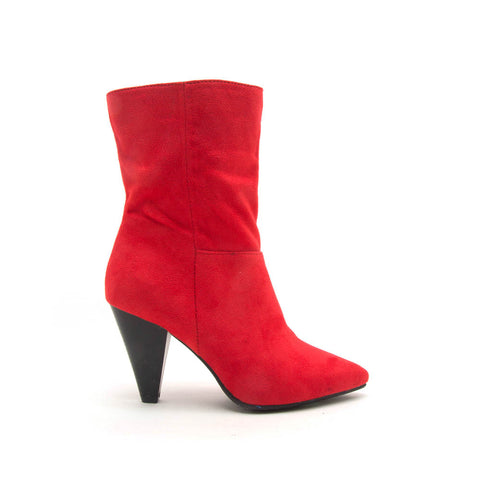 Zinger-01 Red Mid Calf Boot