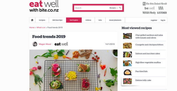 Food trends 2019 by bite.co.nz