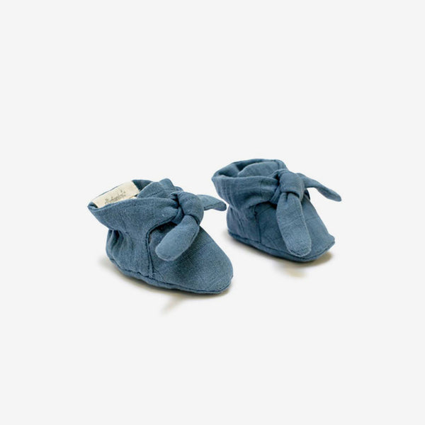 Organic Knotted Booties - Ocean Blue