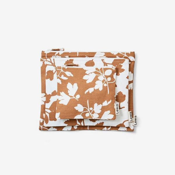 Cotton Zip Pouch Set 3 - Fig Nutmeg