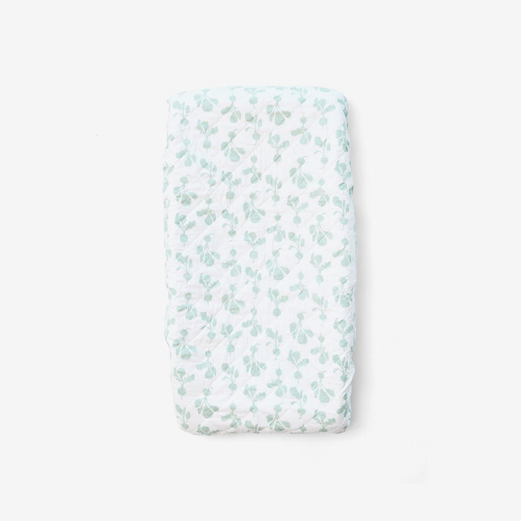 Organic Cotton Quilted Changing Pad Cover - Radish Agave