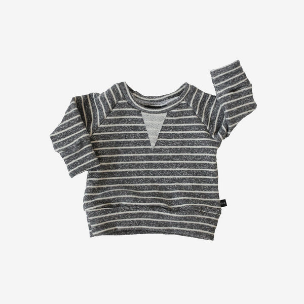 Crew Sweatshirt - Heather Charcoal Stripe