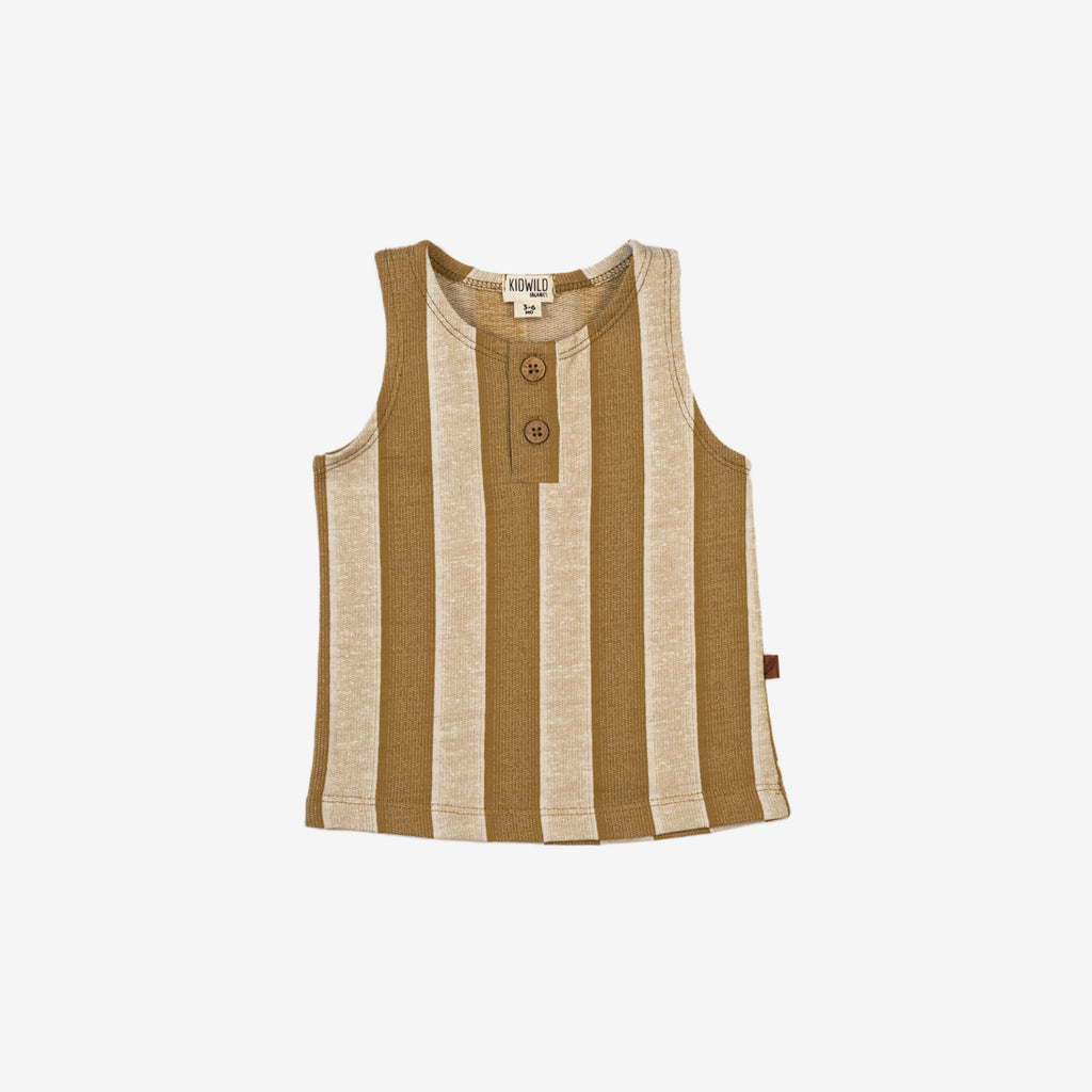Organic Tank Top - Vintage Yellow Stripe