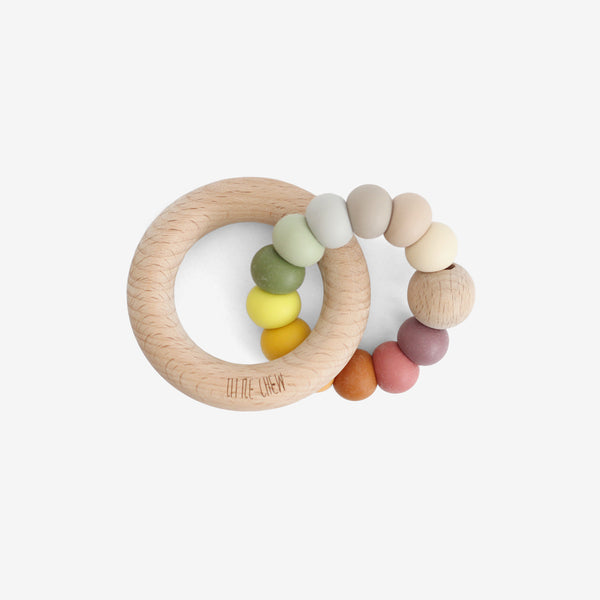 Silicone Bead + Wood Ring Teether - Autumn