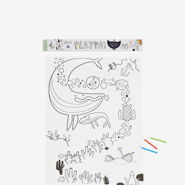 Playpa Drawing Roll & Stickers Set - Ocean