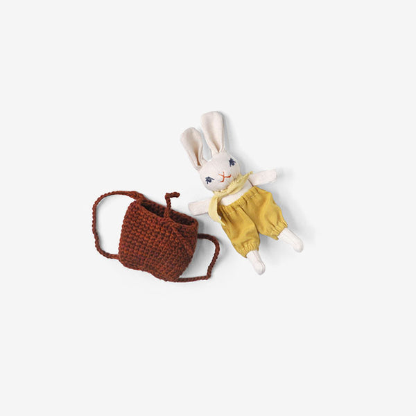 Baby Bunny in Backpack - Cream/Goldenrod/Bark