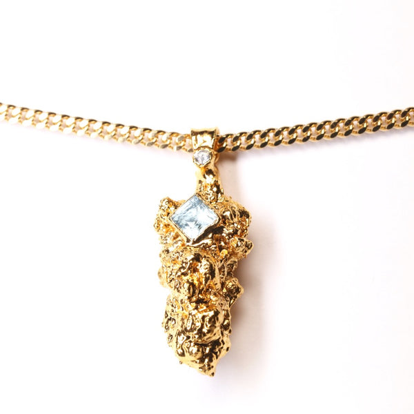 Gold Cannabis Nug with Topaz and White Sapphire