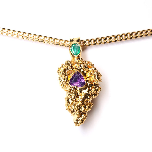 Gold Cannabis Nug with Amethyst and Emerald