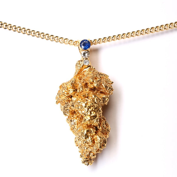Gold Cannabis Nug with Blue Sapphire, Diamond and Aquamarine