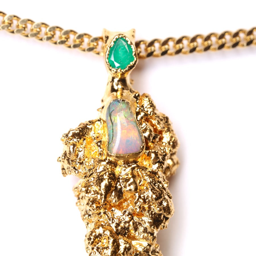 Gold Cannabis Nug with Ethiopian Opal and Emerald