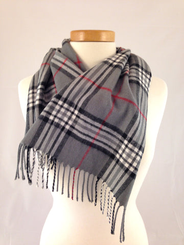 grey plaid burberry scarf