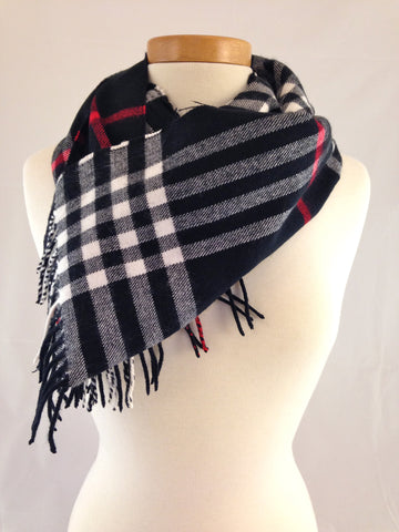 black red plaid scarf burberry