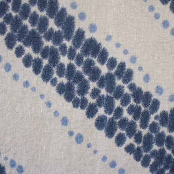 Chevron Stripe Hand Painted Linen Throw or Wallpiece - Indigo & Ultramarine