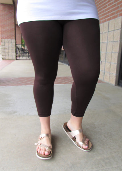 Plus Size Leggings- Solid Brown Capri Leggings