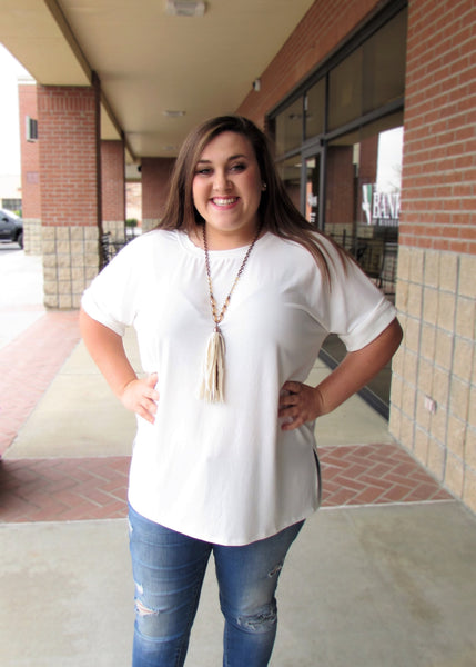 Plus Size Top- Basic Ivory Rolled Short Sleeve Top