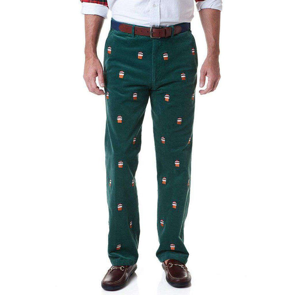 Castaway Clothing Beachcomber Corduroy Pant in Hunter with Embroidered Santa Stuck in Chimney