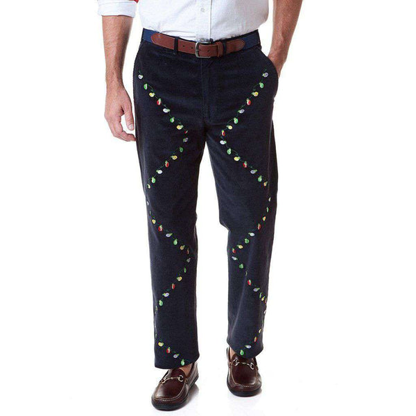 Castaway Clothing Beachcomber Corduroy Pant in Navy with Embroidered Christmas Lights