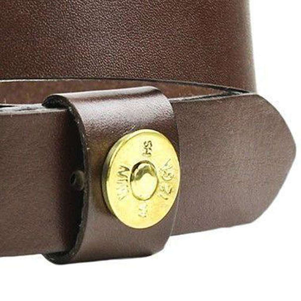 Shotgun Shell Leather Belt in Brown by Country Club Prep