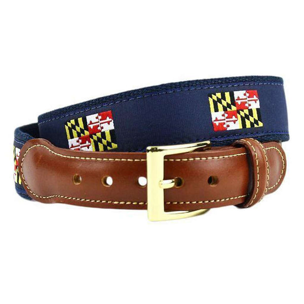 Maryland Flag Leather Tab Belt in Navy on Navy Canvas by Country Club Prep
