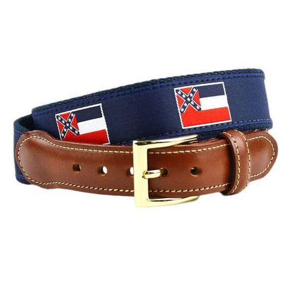 Mississippi Flag Leather Tab Belt in Navy on Navy Canvas by Country Club Prep