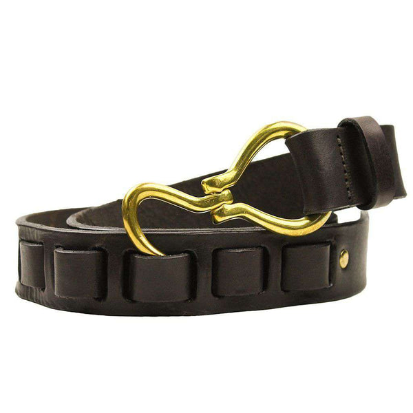 Hoof Pick Leather Belt in Dark Brown by Country Club Prep  - 1