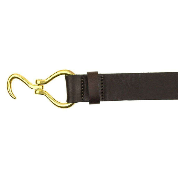 Hoof Pick Leather Belt in Dark Brown by Country Club Prep  - 2