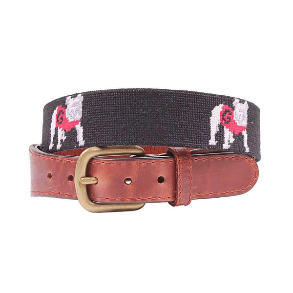 Smathers and Branson University of Georgia Bulldog Needlepoint Belt in Black