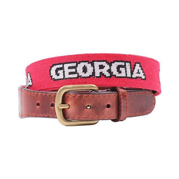 Smathers & Branson University of Georgia Text Needlepoint Belt in Red