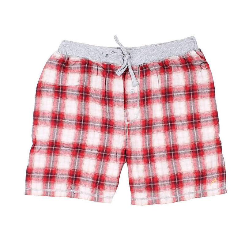 True Grit Shadow Plaid Flannel Boxer in Barn Red